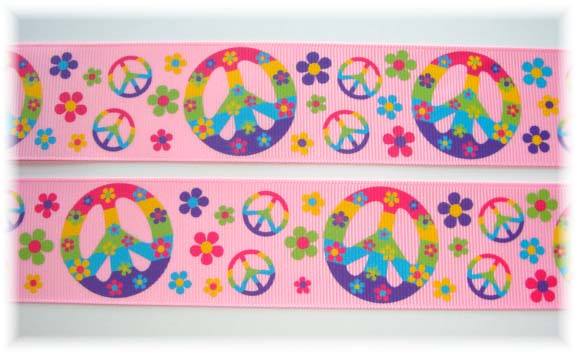 1.5 FLOWER POWER PEACE SIGNS PINK - 5 YARDS
