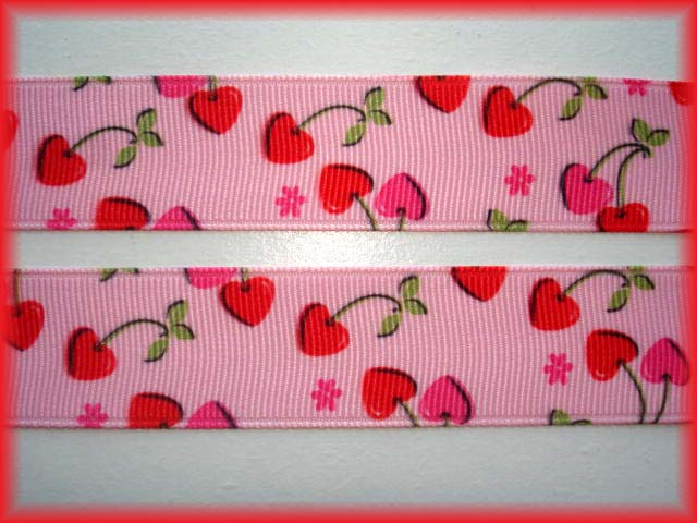 7/8 RED CHERRY HEARTS PINK - 5 YARDS