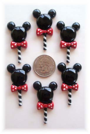 2PC MINNIE LOLLIPOPS RED BOW