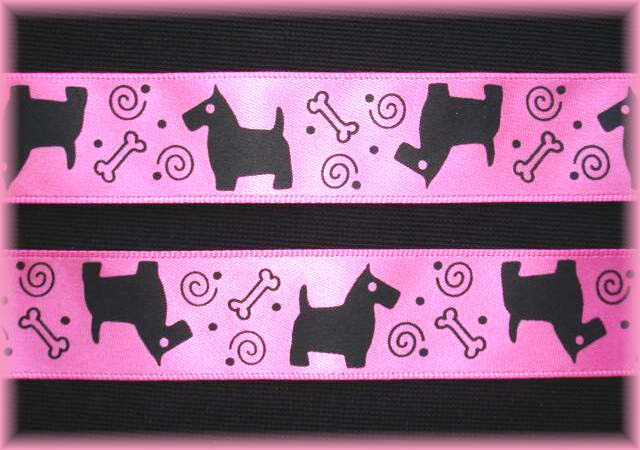 7/8 PINK SATIN SCOTTY DOG - 5 YARDS