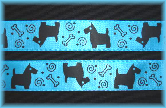 7/8 BLUE SATIN SCOTTY DOG - 5 YARDS
