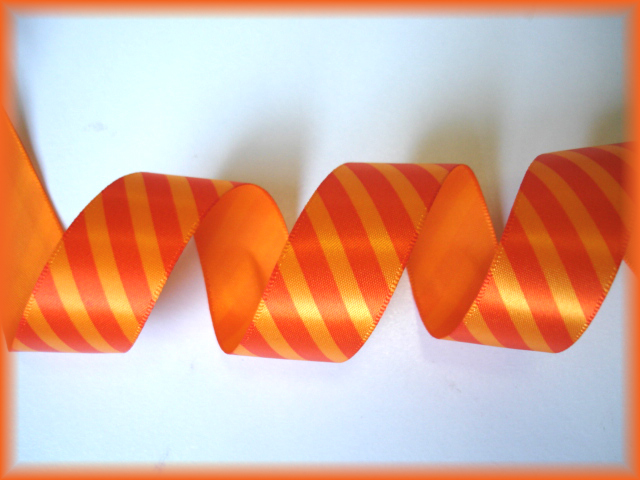 7/8 VENUS ORANGE TANGERINE DIAGONAL SATIN STRIPE - 5 YARDS