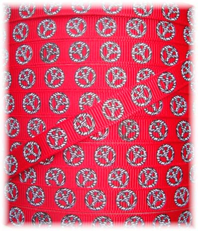 3/8 SALE ZEBRA PEACE RED - 5  YARDS