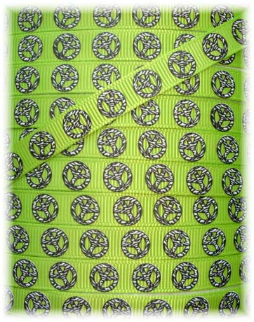 3/8 SALE ZEBRA PEACE LIME - 5  YARDS