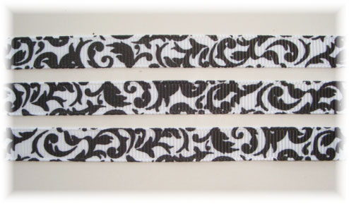 3/8 OOAK WHITE/BLACK DAMASK - 7+ REMNANT YARDS