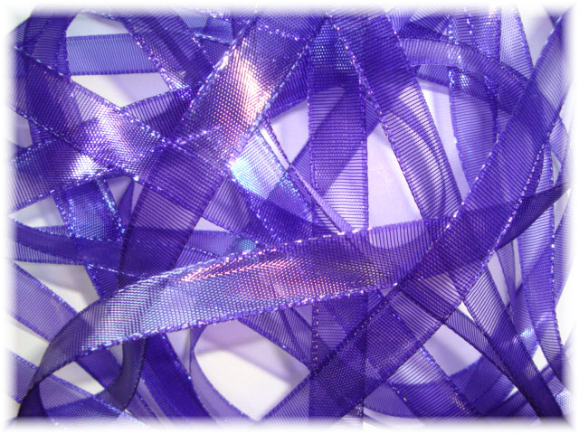 5/8 PURPLE SHEER WET LOOK MARDI GRAS RIBBON - 5 YARDS
