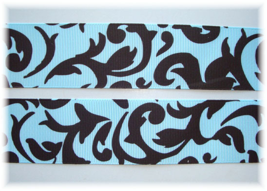 1.5 DAMASK SCROLLS BLUE/BROWN - 5 YARDS