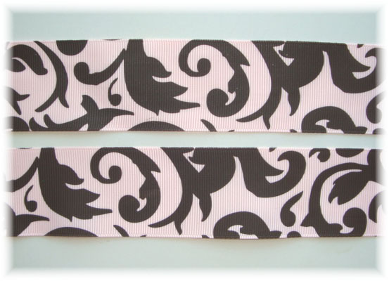 1.5 DAMASK SCROLLS PINK/BROWN - 5 YARDS