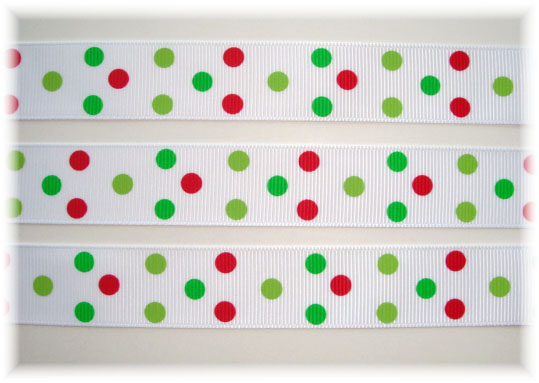 7/8 WHITE RED LIME GREEN POLKA DOTS - 5 YARDS