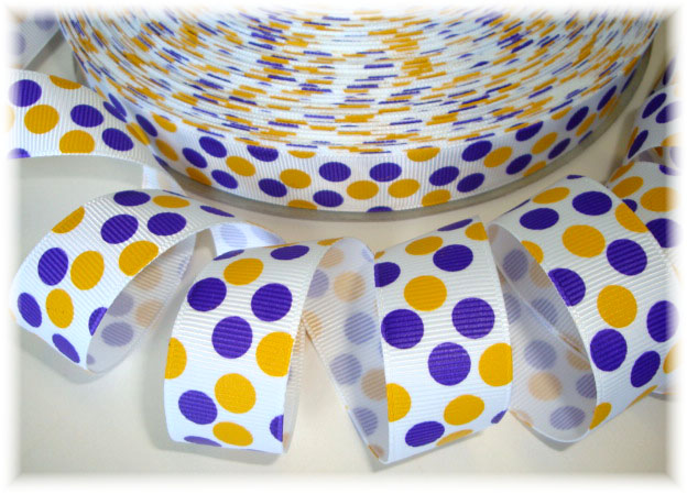 7/8 WHITE PURPLE GOLD TIGER DOTS - 5 YARDS