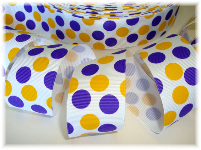 1.5 WHITE PURPLE GOLD TIGER DOTS - 5 YARDS