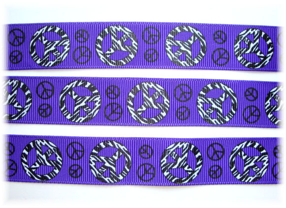 7/8 OOAK PEACE PURPLE GROSGRAIN  - 4 YARDS