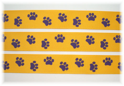 7/8 YELLOW GOLD PURPLE PAWS - 5 YARDS