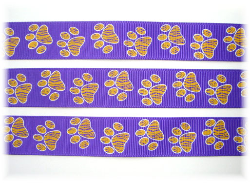 7/8 TIGER PRINT PAWS PURPLE/GOLD - 5 YARDS