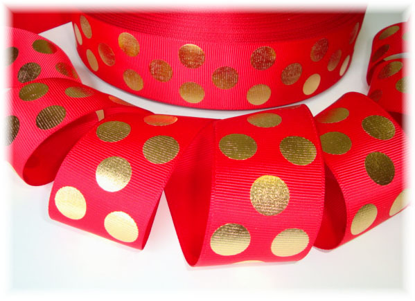 1.5 OOAK RED GOLD METALLIC DOTS - 7 REMNANT YARDS