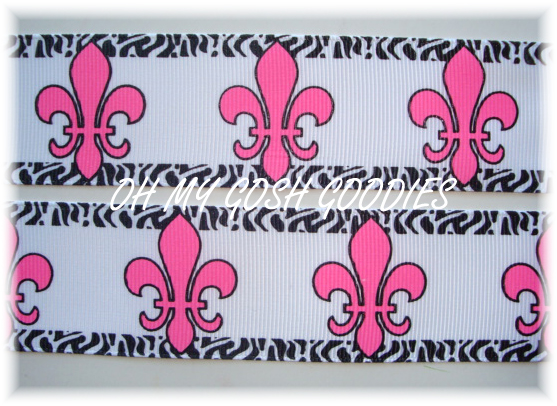 1.5 OOAK OH SO FABULOUS FLEUR DE LIS WHITE/PINK/BLACK - 2 3/4 YARDS