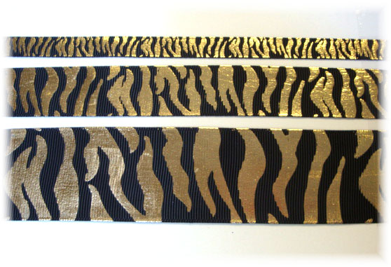 3/8 - 7/8 - 1.5 -  BLACK GOLD METALLIC ZEBRA CHEER - 5 YARDS