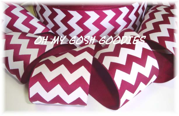 2 1/4 *IRREGULAR* CRIMSON MAROON WHITE CHEVRON - 5 YARDS