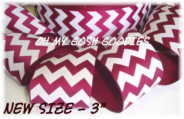 "3"" * IRREGULAR * CHEVRON MAROON WHITE - 5 YARDS"