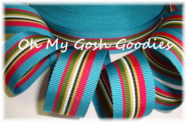 7/8 M88 TEAL RED OLIVE PREPPY STRIPE - 5 YARDS