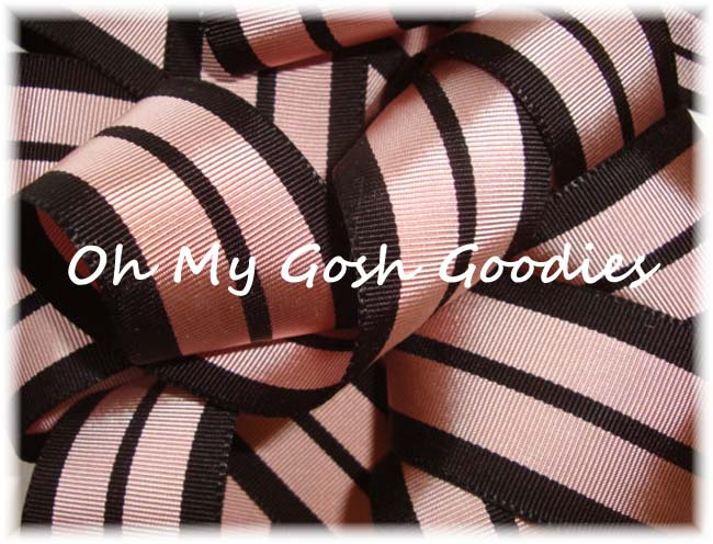 1.5 DUSTY PINK BLACK PREPPY STRIPE -5 YARDS