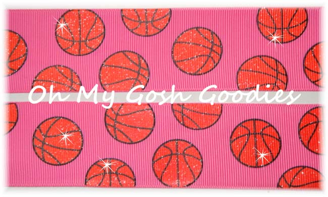 1.5 GLITTER BASKETBALL HOT PINK - 5 YARDS