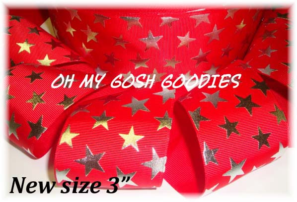 "3"" OOAK SILVER CHEER STARS RED - 5 2/3 YARDS"