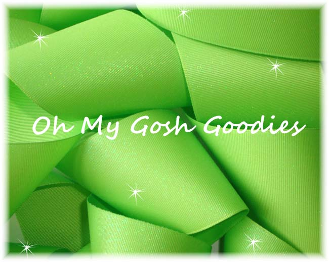 "3"" OOAK GLITTER SOLID CHEER LIME - 3 YARDS"