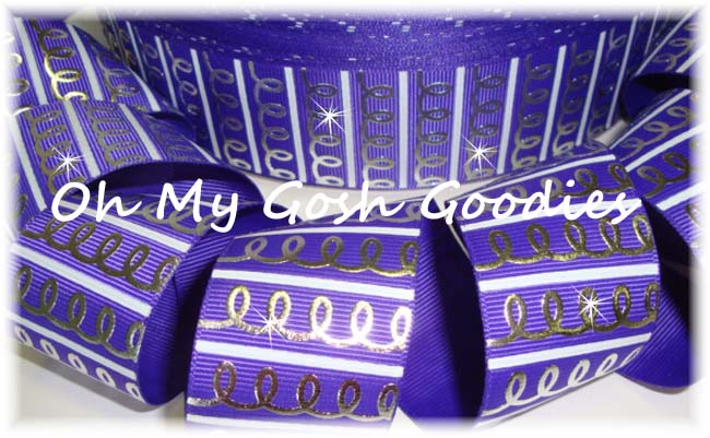 1.5 FANCY SWIRL STRIPES PURPLE - 5 YARDS