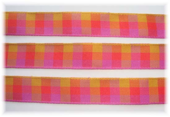 5/8 OFFRAY SEABREEZE MAGENTA CHECK - 5 YARDS