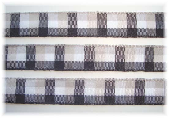 5/8 OFFRAY SEABREEZE BLACK CHECK - 5 YARDS