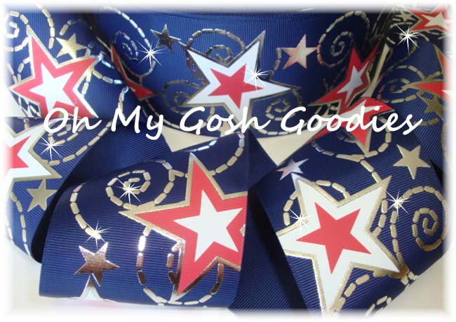 "3"" NAVY RED WHITE STAR BLING - 5 YARDS"