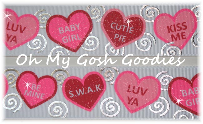 1.5 SWIRLS & GLITTER CONVERSATION CANDY HEARTS - 5 YARDS