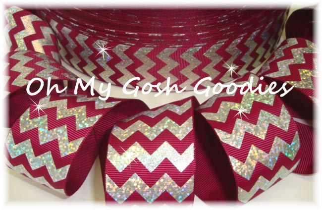 1.5 HOLOGRAM SILVER CHEVRON MAROON - 5 YARDS