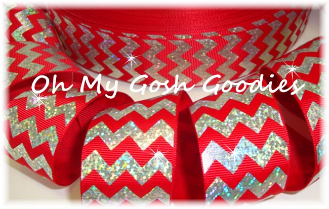 1.5 HOLOGRAM SILVER CHEVRON RED - 5 YARDS