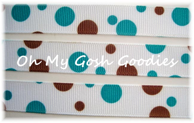 5/8 TURQUOISE BROWN RANDOM DOTS - 3 YARDS