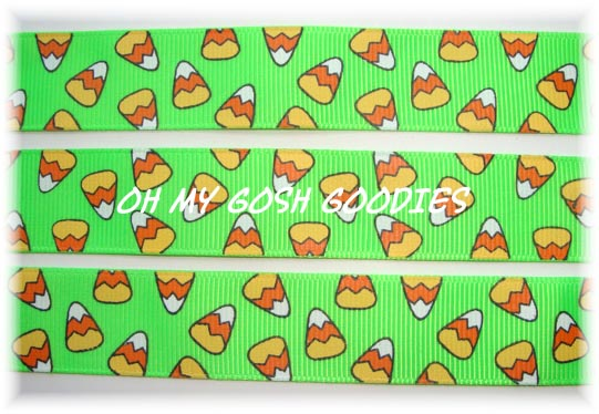 7/8 OOAK CANDY CORN CHEVRON LIME - 3 YARDS