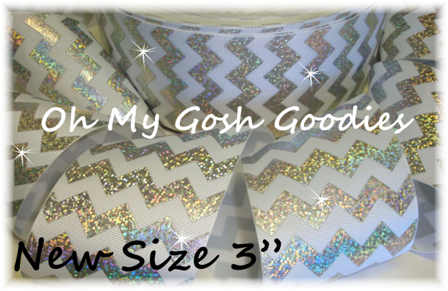 "3"" OOAK HOLOGRAM SILVER CHEVRON WHITE - 4 YARDS"