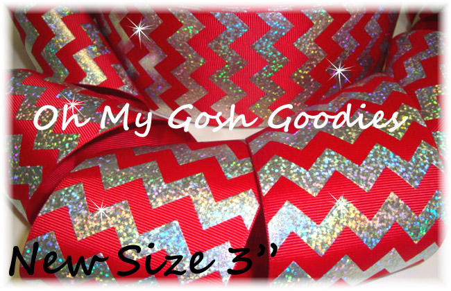 "3"" OOAK HOLOGRAM SILVER CHEVRON RED - 4 YARDS"