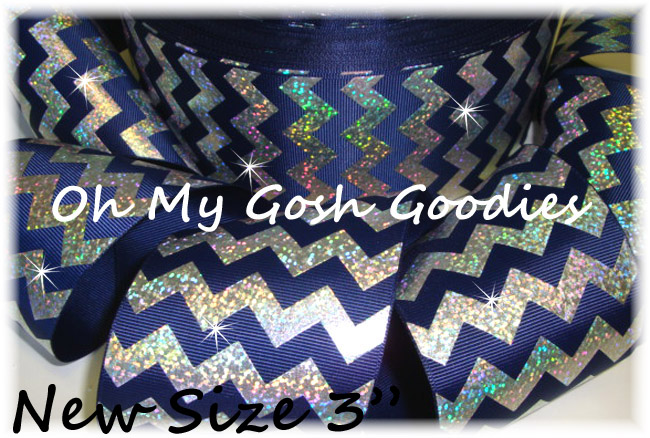 "3"" OOAK HOLOGRAM SILVER CHEVRON NAVY - 4 YARDS"