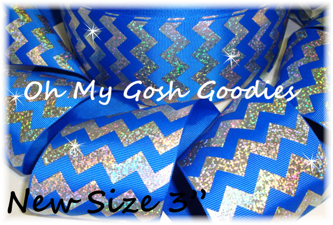 "3"" OOAK HOLOGRAM SILVER CHEVRON ROYAL - 4 YARDS"