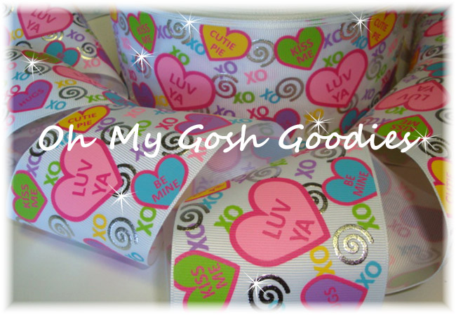"3"" OOAK CONVERSATION HEART SWIRL BLING  - 4 YARDS"