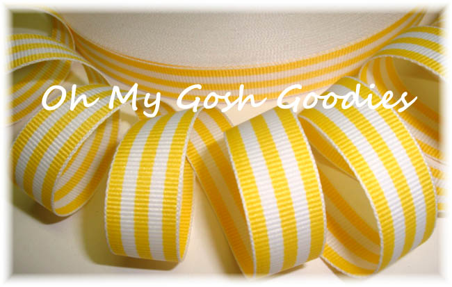 5/8 EASTER YELLOW WHITE PIN STRIPE - 5 YARDS