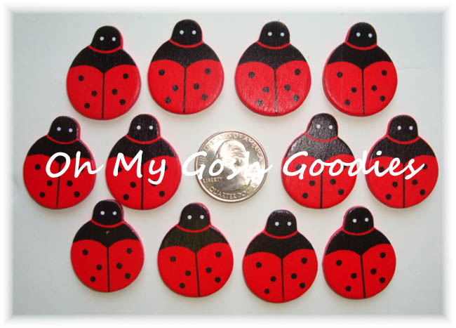 12PC RED LADYBUG EMBELLISHMENTS