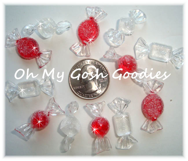 12PC RED WHITE GLITTER CANDY RESINS