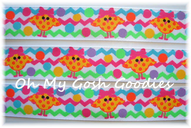 7/8 * WHITE * CHEVRON CHICKS POLKA DOT - 5 YARDS
