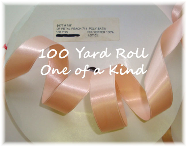 7/8 OOAK PETAL PEACH DOUBLE FACE SATIN - 100 YARD ROLL