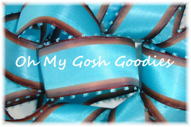 1.5 TURQUOISE BROWN PICOT WIRED RIBBON - 5YD