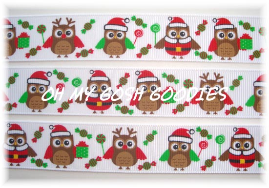 7/8 CHRISTMAS CANDY HOOTS - 5 YARDS