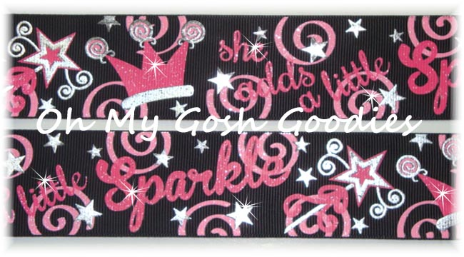 1.5 SHE ADDS SPARKLE PRINCESS BLACK - 5 YARDS